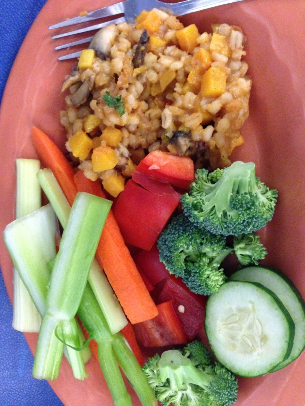 I think you know what these vegetables are + sweet potato pilaf
