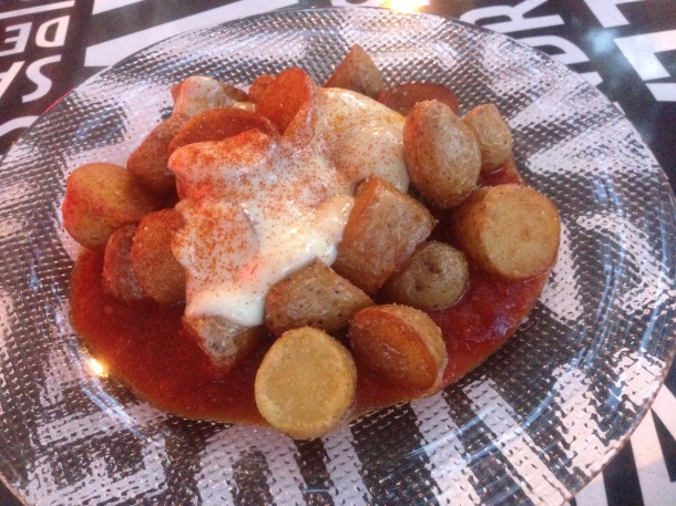 Patatas Bravas-a jaleo favorite with spicy tomato sauce and alioli