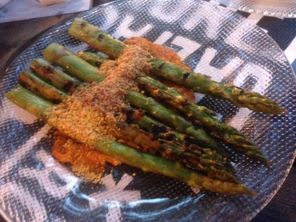 Trigueros Con Romesco- grilled asparagus with romesco sauce