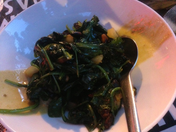 Espinacas A La Catalana-sautéed spinach, pine nuts, raisins and apples